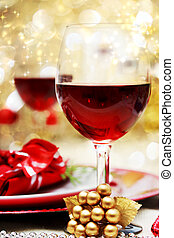 Decorated Christmas Dinner Table with Red Wine
