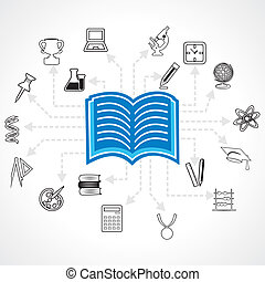 set of educational icon around book-vector illustration
