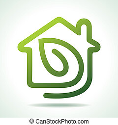 home icon with leaf-vector