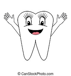 smiling tooth with hands