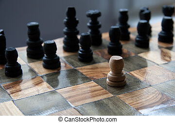 against all odds - chess game with one pawn against the...