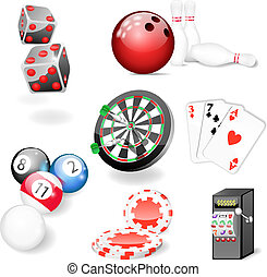 Set of vector casino and game eleme - Vector illustration