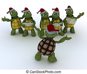 tortoises singing christmas carols - 3D Render of a...