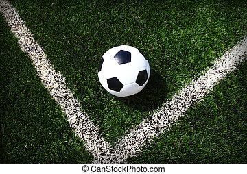 Soccer football field stadium grass line ball background...