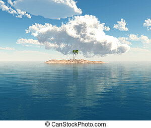 Tropical island in clear blue sea - 3D render of a tropical...
