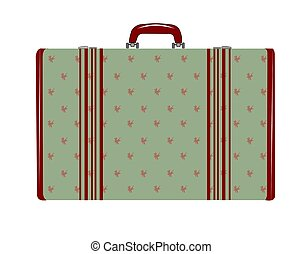 ladys luggage - woman's suitcase in floral green print...