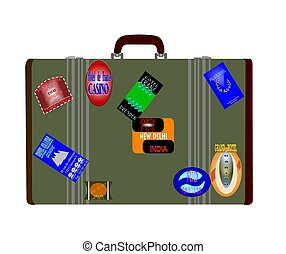 travellers luggage - worldly traveler with labels and...
