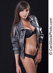 woman in lingerie - Attractive woman in leather jacket and...