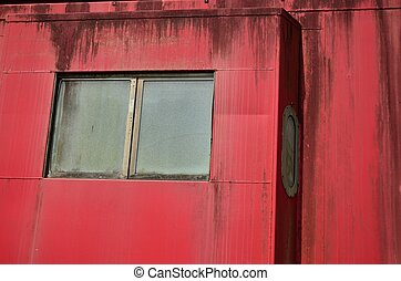 Windows in old red caboose - Windows in a trains old red...
