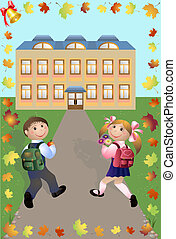 Boy and girl go to school - Cheerful pupils go to school....