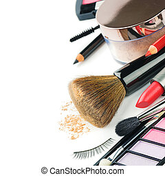 Colorful makeup products isolated over white