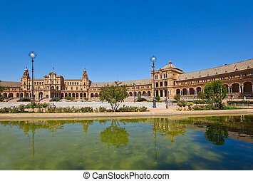 Plaza de España and pond , Seville, Spain - bridge of Plaza...