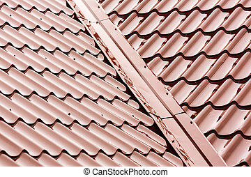Red tiled roof - New red tiled metal roof at rain