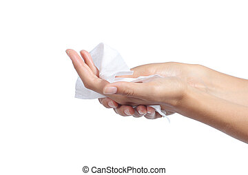 Woman cleaning her hands with a tissue isolated on a white...