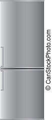 Refrigerator with two doors, with aluminium color