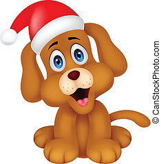 Dog cartoon with Christmas red hat - vector illustration of...