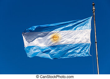 The Argentinean flag - An Argentinean flag in front of a...