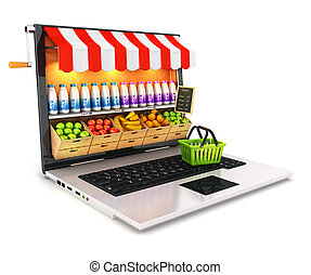 3d supermarket laptop, isolated white background, 3d image