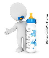 3d white people baby feeding bottle, isolated white...
