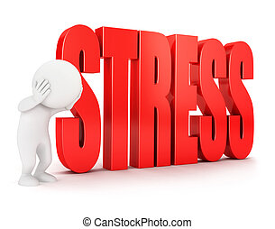 3d white people stress, isolated white background, 3d image