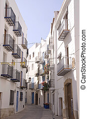 Mediterranean village - A paving street of Peniscola, a...