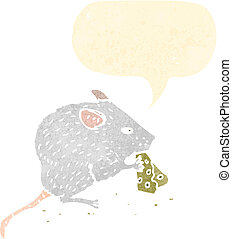retro cartoon mouse nibbling cheese