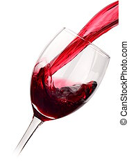 Red wine poured into glass isolated on white