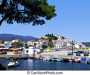 Skiathos port - The port on the Greek island of Skiathos