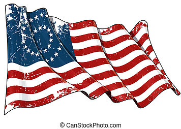 US Civil War Union -37 Star Medallion - Scratched Flag -...