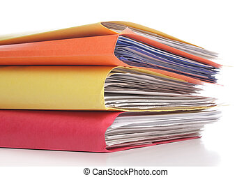 Stack of folders with files - Pile of folders with old...