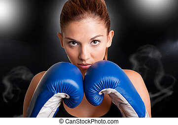Female Boxer Ready to Fight - Female boxer ready to fight,...