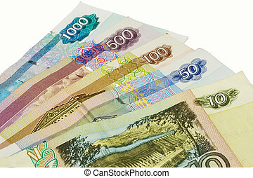 Russian currency - Set of different notes from ten to...