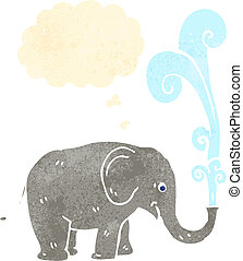 retro cartoon elephant squirting water