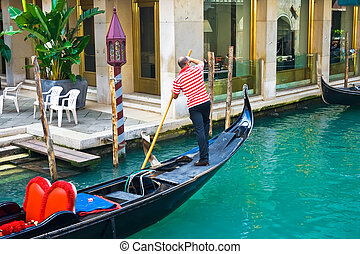 Venetian Gondola - Gondola, traditional water transport in...