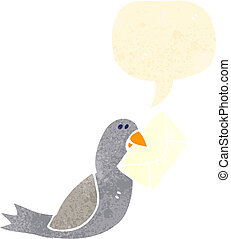 retro cartoon pigeon post