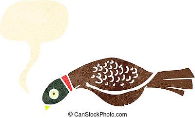 retro cartoon pheasant