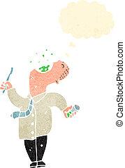 retro cartoon man gargling mouthwash