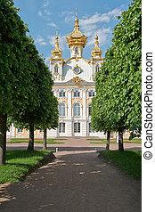 The church in Peterhof - St. Petersburg, Russia - June 2:...