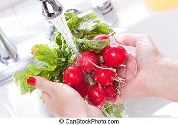 Rinsing Radishes - Woman Washing Radish in the Kitchen Sink.