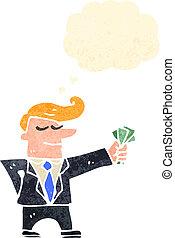 retro cartoon man in suit with cash