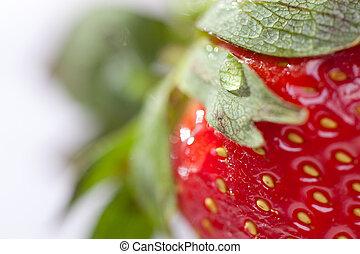 Macro of Strawberry - Macro of Fresh Strawberry and Water...