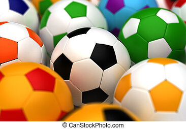 coloridos, futebol, Bolas