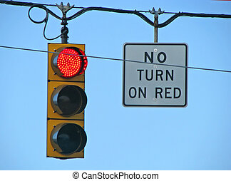 traffic light - red traffic light turn no turn on red sign