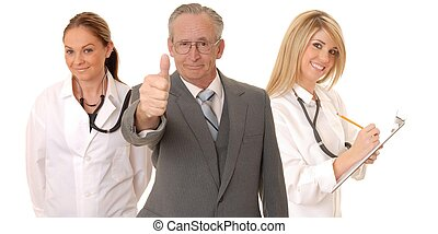 Medical Team - Senior doctor physician isolated on white...