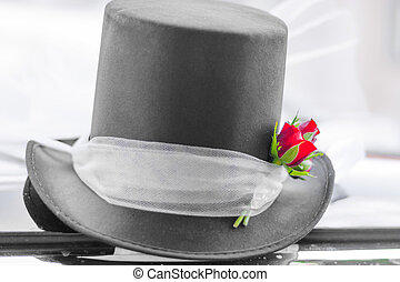 Wedding top hat - Detail of black wedding top hat with red...