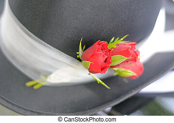 Wedding cylinder - Detail of black wedding top hat with red...