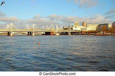 The River Thames - The river Thames and bridge London...