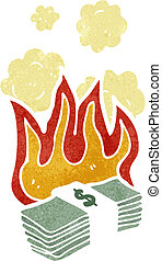 cartoon burning dollars