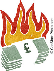 burning pound sterling cartoon