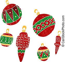 retro cartoon christmas baubles